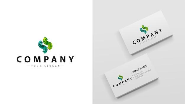 Многоугольник логотипа с буквой s. шаблон визиток с логотипом