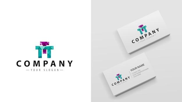 Многоугольник логотипа с буквой т. шаблон визиток с логотипом