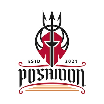 Logo poseidon trident for restaurants beverages and food