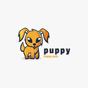 Logo puppy cute cartoon style.