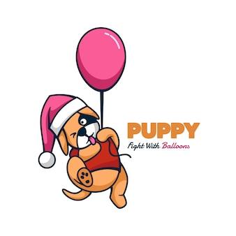 Логотип щенок талисман мультяшном стиле.