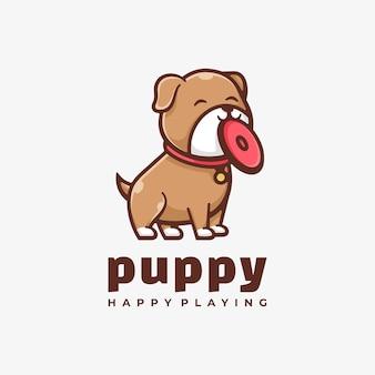 ロゴの子犬シンプルなマスコットスタイル。