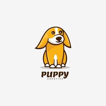 Логотип щенка простой стиль талисмана.
