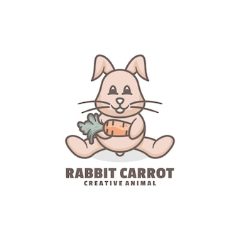 Logo rabbit mascot cartoon style.