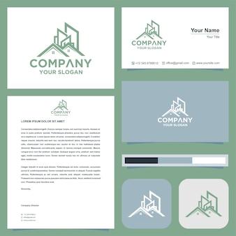 Логотип недвижимостивилла в сочетании с горной концепцией на визитной карточке премиум векторы