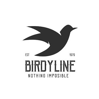 Logo retro vintage bird illustration