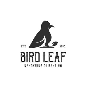 Logo retro vintage bird leaf illustration