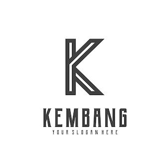 Logo retro vintage letter k line art illustration
