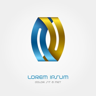 Logo ribbon, business abstract design template, looped infinity logotype.