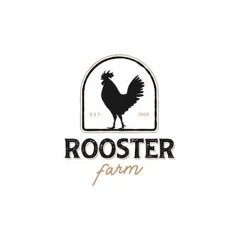 The logo of a rooster with a classic model for product labels, chicken meat seller