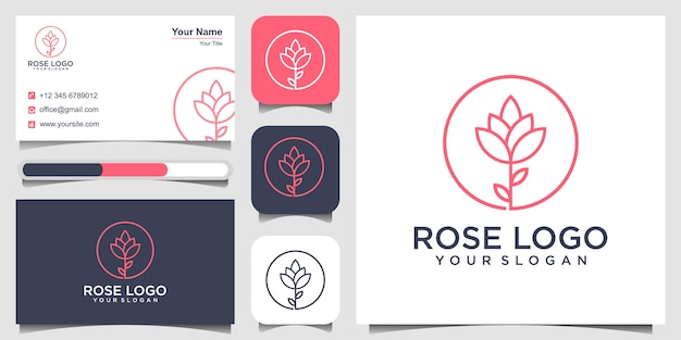 Logo of rose, spa concept and business card