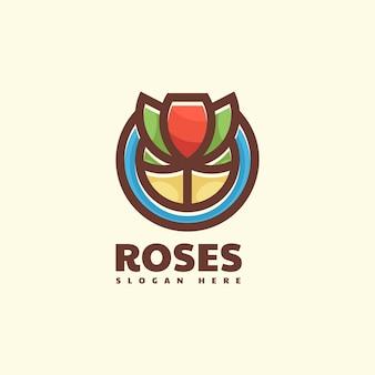 Логотип розы простой стиль талисмана
