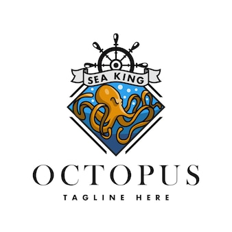 Logo sea king octopus rhombus for restaurants beverages and food