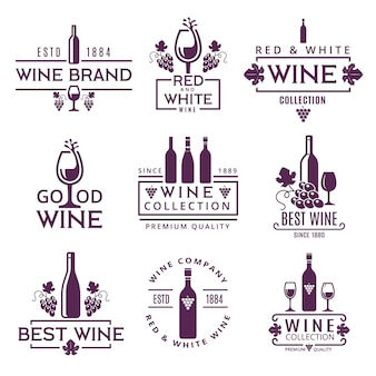 Logo set or badges of wine brands