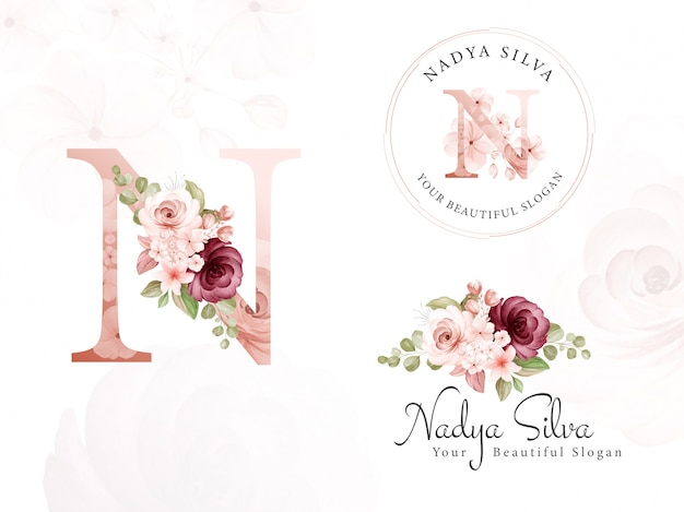 Logo set of brown and burgundy watercolor floral for initial n, round, and horizontal. premade flowers badge, monogram