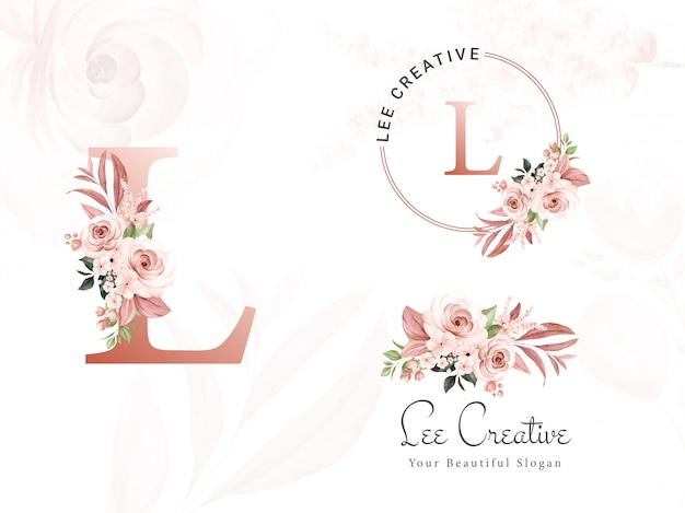 Logo set of brown watercolor floral for initial l, round, and horizontal. premade flowers badge, monogram