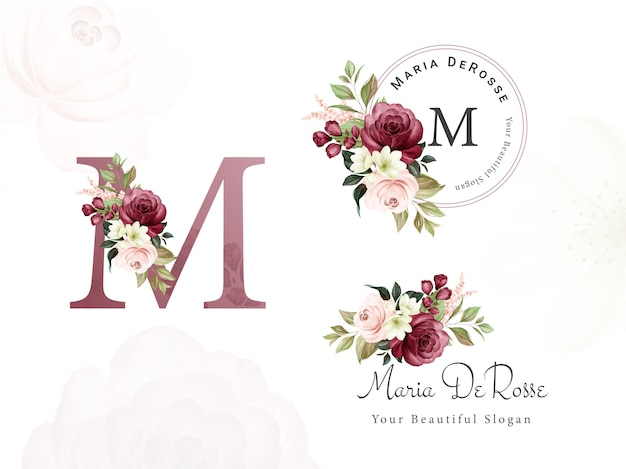 Logo set of burgundy and peach watercolor floral for initial m, round, and horizontal. premade flowers badge, monogram