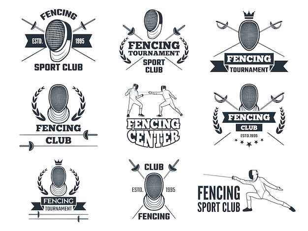 펜싱 스포츠 로고 설정.