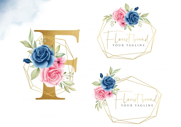 Logo set of navy blue and blush watercolor floral for initial f