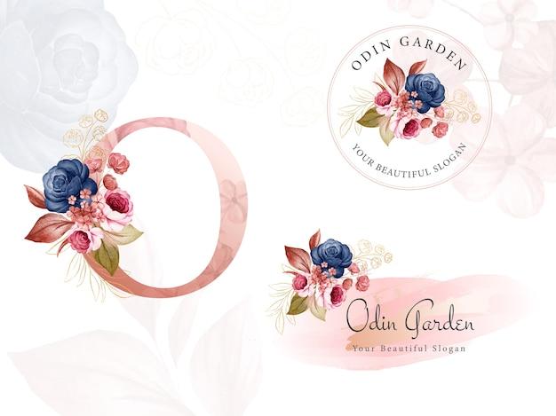이니셜 o, 원형 및 가로에 대한 네이비 및 브라운 수채화 꽃의 로고 세트.