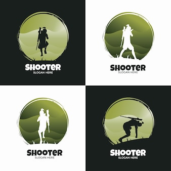 Logo set of shooter classic style