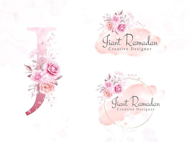 Logo set of watercolor flowers for initial j of soft floral, leaves, brush stroke, and gold glitter. premade botanic badge, monogram for branding