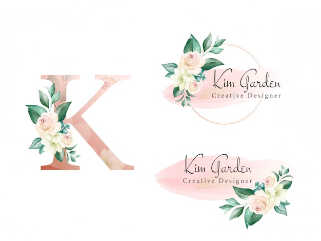 Logo set of watercolor flowers for initial k of soft floral, leaves, brush stroke.