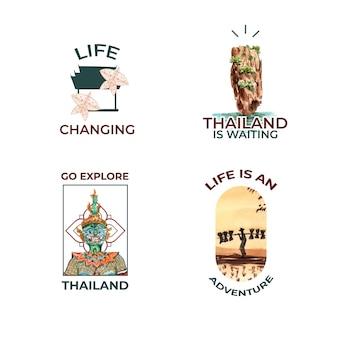 Logo impostato con il concetto di viaggio thailandia per branding e marketing in stile acquerello