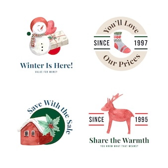 Logo set with winter sale in watercolor style