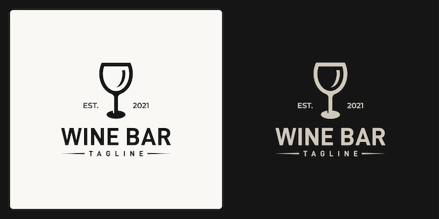 Logo shape of a wine glass. logo in retro, vintage, classic style.