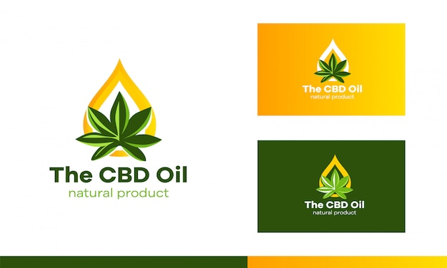 Logo a sheet of cannabis and a drop of oil