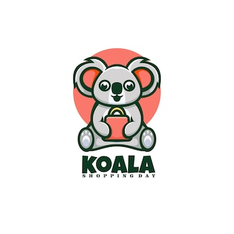 Logo shopping koala mascot cartoon style