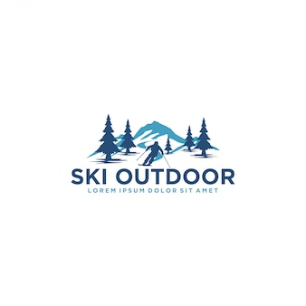 Logo for skiing with a silhouette of skier