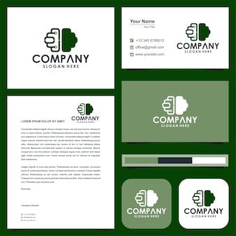 Логотип умный мозг и визитная карточка