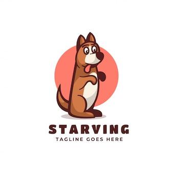 Логотип голодный простой стиль талисмана.