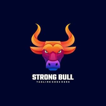 ロゴ強い牛グラデーションカラフルなスタイル。