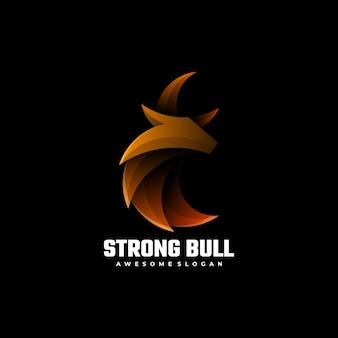 Логотип strong bull градиент красочный стиль.