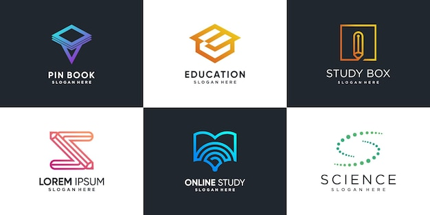 Logo for study with creative element concept premium vector part 1