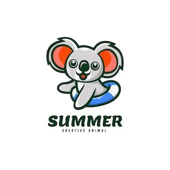 Логотип летний коала талисман мультяшном стиле