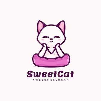 Логотип sweet cat простой стиль талисмана.