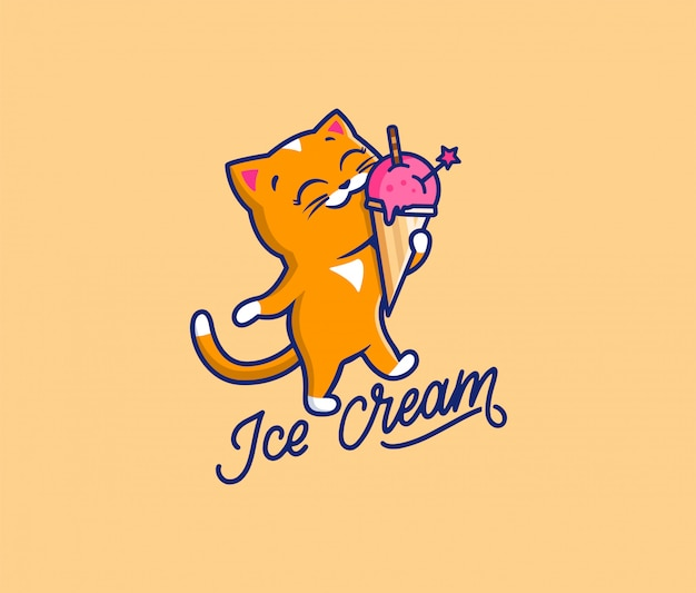 The logo sweet cat with text ice cream. food logotype