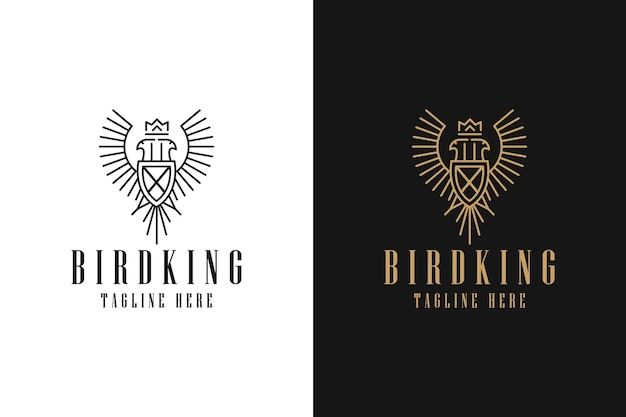 Logo symbol graphic minimalist line art simple badge bird crown king wings coat of arms