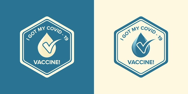 Logo symbol with text i got my covid-19 vaccine for vaccinated persons. coronavirus vaccine campaign sticker. medical and health concepts