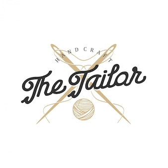 Logo for tailors in vintage style with needle and thread elements
