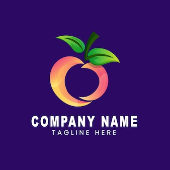 Logo template of apple combination leaf with gradient colors