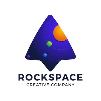 Logo template arrow up rocket and space element inside