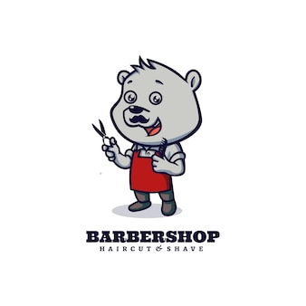 Logo template of barbershop bear mascot cartoon style