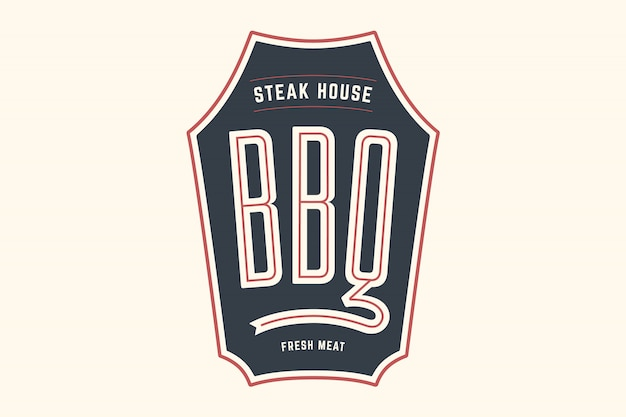Logo template of bbq grill meat restaurant with grill symbols, text bbq, steak house, fresh meat. brand graphic template for meat business or  - menu, poster, banner, label.  illustration