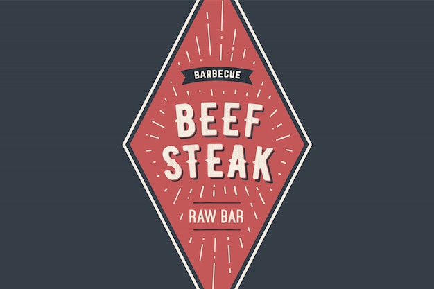 Logo template of bbq grill meat restaurant with grill symbols, text beff steak, barbecue, raw bar. brand graphic template for meat business or  - menu, poster, , label.  illustration