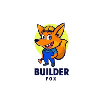 Logo template of builder fox mascot cartoon style.